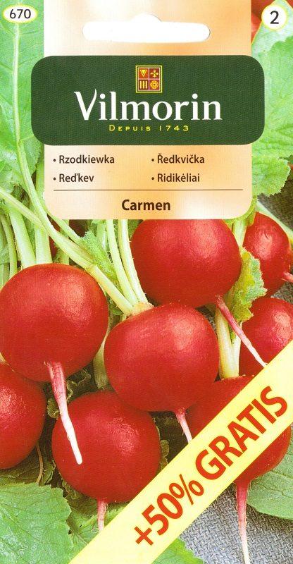 Ředkvička Carmen - červená, o 50 % navíc (Vilmorin)