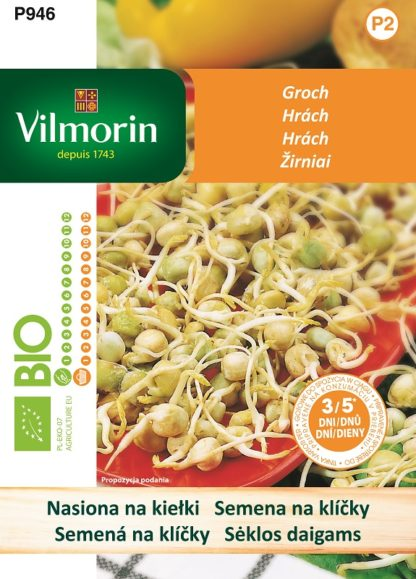 Hrách - BIO semena na klíčky (Vilmorin)